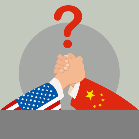 usa vs china policy and competition. arm wrestling.vector illustration flat style