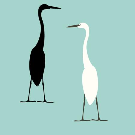 heron vector illustration flat style black silhouette set 向量圖像