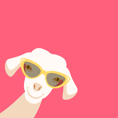 white lamb head front side vector illustration flat style Illustration