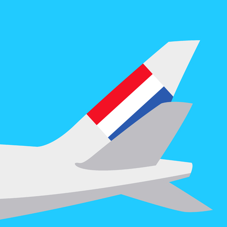 banner with the image of an airplane tail flat style vector