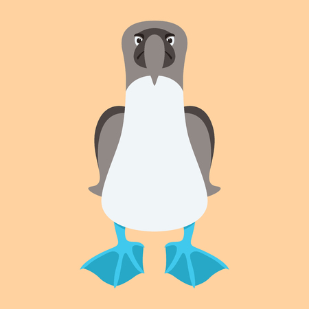 BLUE FOOTED BOOBIE BIRD cartoon vector illustration flat style front side