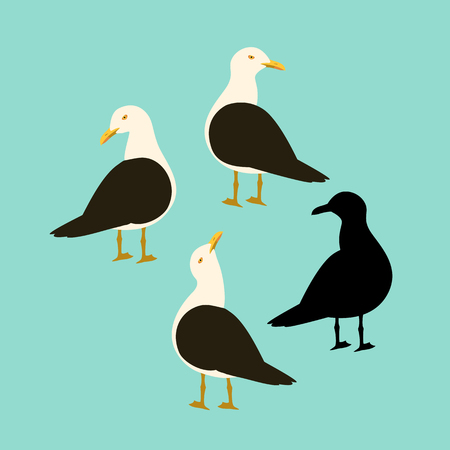 black - backed gull vector illustration flat style profile side black silhouette
