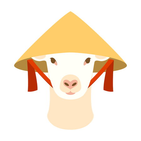 sheep  with Old chinese conical straw hat vector illustration flat style