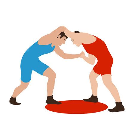 Twee vechters op een arena Grieks-Romeins, vector illustratie vlakke stijl