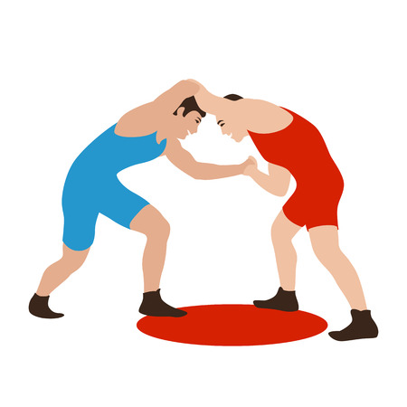Two fighters on a arena  greco-roman, vector illustration flat style