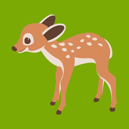 baby  deer cartoon vector illustration   flat style  profile side