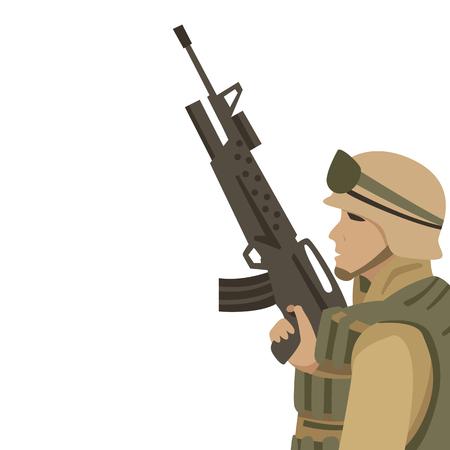soldat américain avec style plat illustration vectorielle pistolet