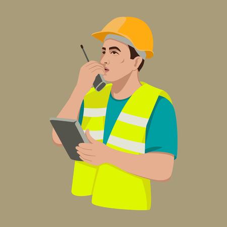 trabajador con walkie-talkie radio ilustración vectorial estilo plano