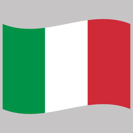italy  flag  on gray background vector illustration flat Vettoriali