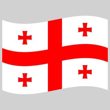 georgia flag on gray background flat style front