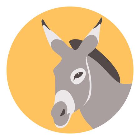 Tête d'âne illustration vectorielle côté profil de style plat