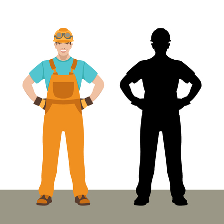smiling worker vector illustration flat style black silhouette set