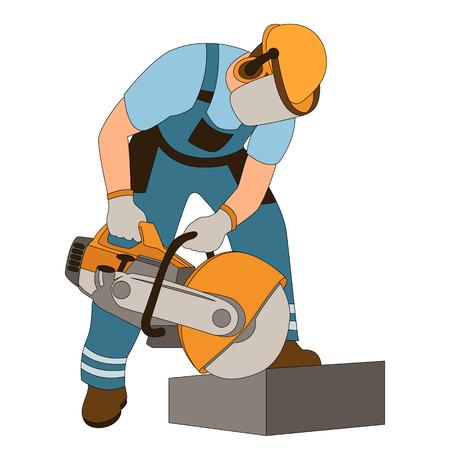 werknemer bij stoeprand snijden vector illustratie vlakke stijl Vector Illustratie