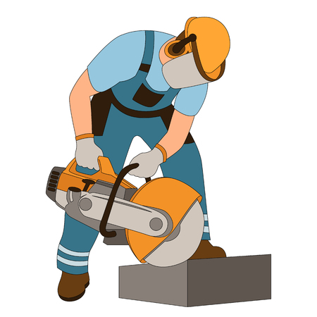 worker at curb stone cutting vector illustration flat style