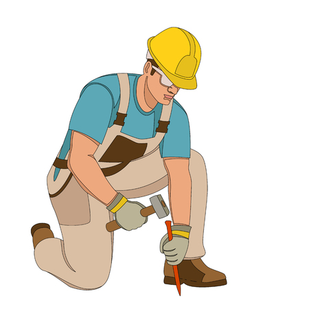 worker with a hammer and a chisel vector illustration flat style