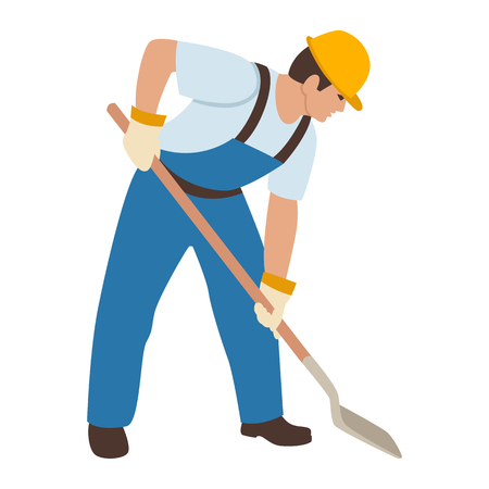 lavoratore al casco con uno stile piano di illustrazione vettoriale di pala Vettoriali