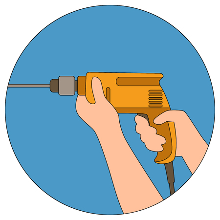 Drill in the male hand  vector illustration flat style  イラスト・ベクター素材