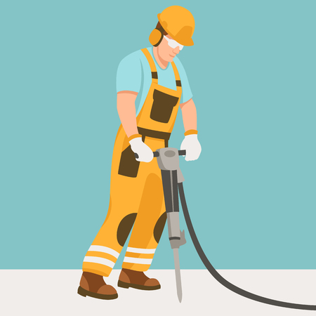 worker with a pneumatic hammer  vector illustration flat style profile side Ilustrace