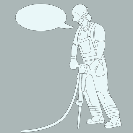 worker with a pneumatic hammer  vector illustration flat style profile side Illustration