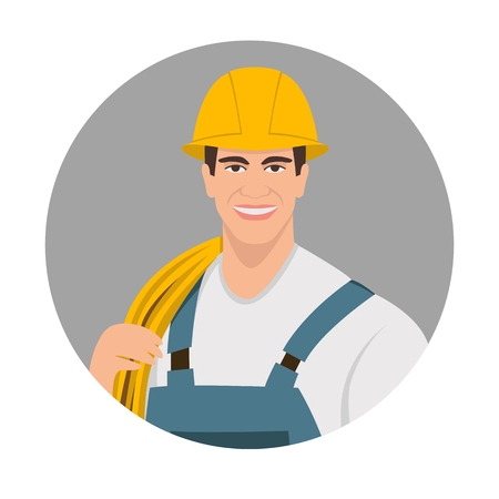 worker smiling face vector illustration flat style front side