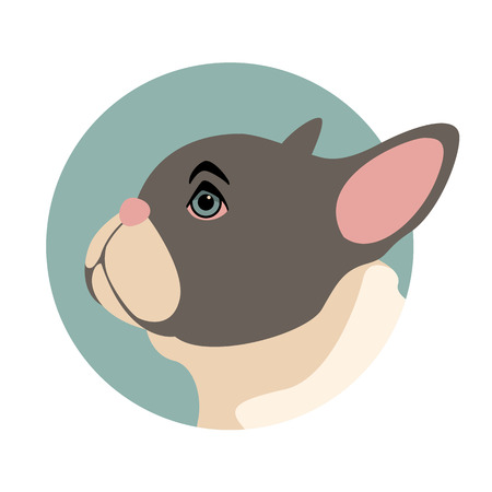 dog bulldog puppy vector illustration flat style profile side Vettoriali