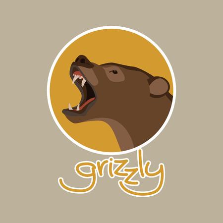 bear  head   vector illustration flat style profile side Illustration