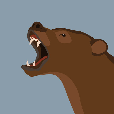 bear  head   vector illustration flat style profile side Illustration