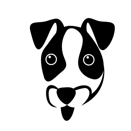 puppy jack russell face  vector illustration flat style  front side Vettoriali
