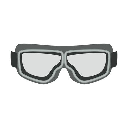 Motorrad Schutzbrille Vintage Flat Style Vector Illustration