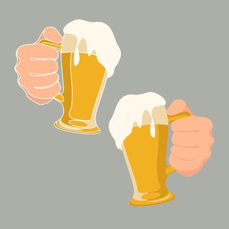 La main d'un homme tient un verre de bière vector illustration style plat Vecteurs
