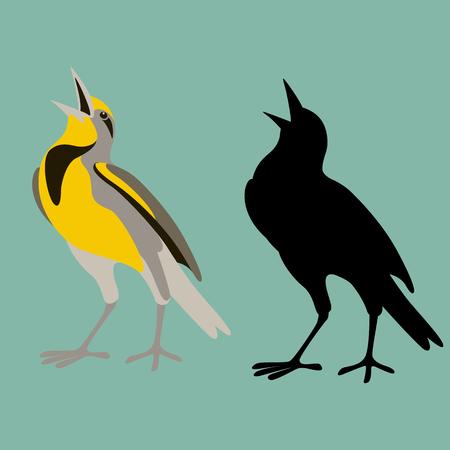 western meadowlark bird flat style black silhouette set