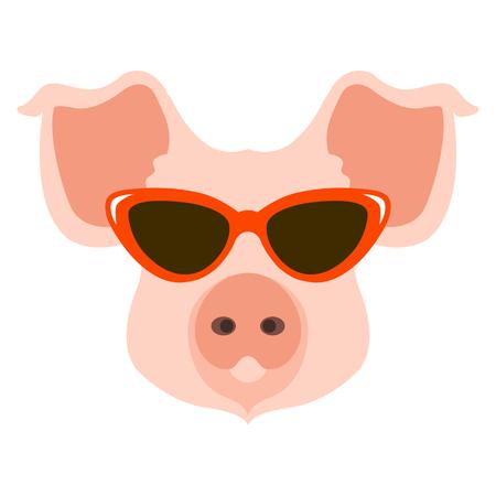 pig in the glasses face  vector illustration flat style Ilustração