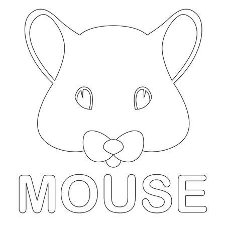mouse face  vector illustration  coloring book  front side Illustration