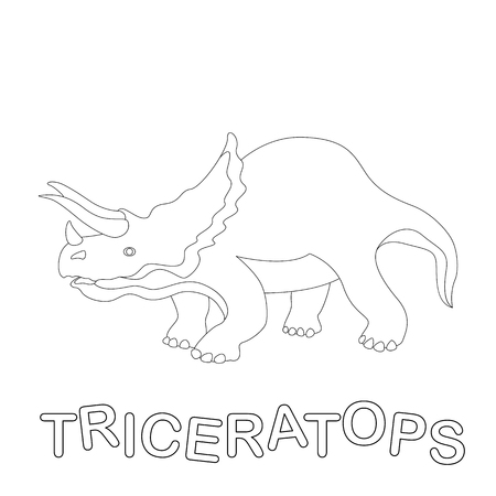 triceratops dinosaur  vector illustration  coloring book  profile side