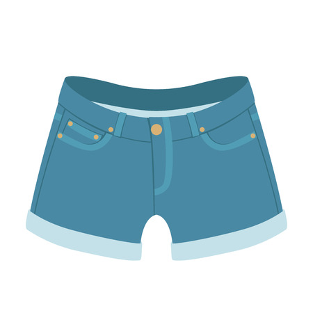 jeans shorts vector illustration flat style front side  イラスト・ベクター素材