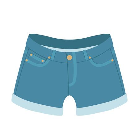 pantaloncini di jeans illustrazione vettoriale in stile piatto lato anteriore Vettoriali