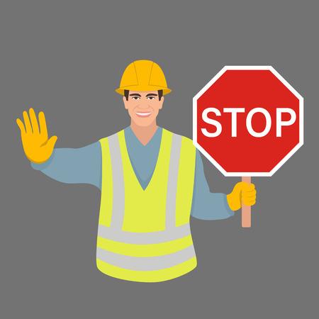 travailleur avec un panneau d'arrêt vector illustration style plat face avant