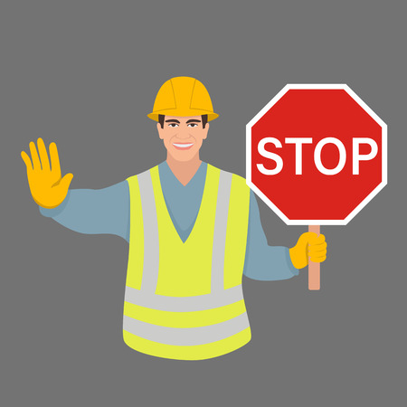 worker with a stop sign vector illustration flat style front side
