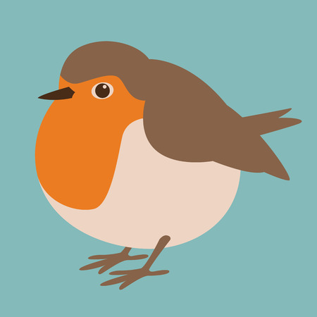 bird robin  vector illustration flat style profile side Çizim