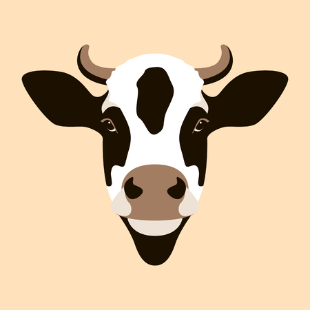 cow  face vector illustration flat style front side Illustration