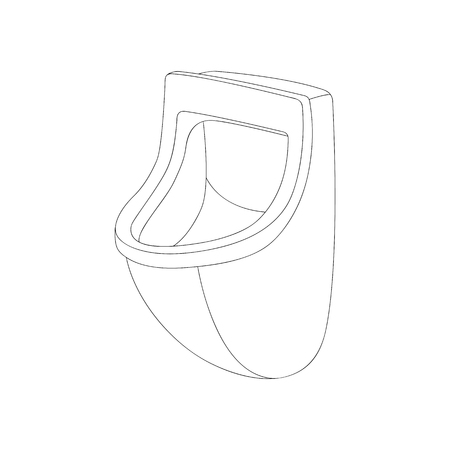 ceramic  urinal   vector illustration  lining draw  front side