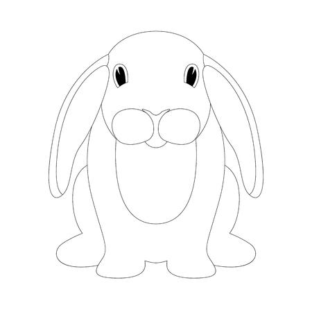 rabbit cartoon  vector illustration   lining draw  front side