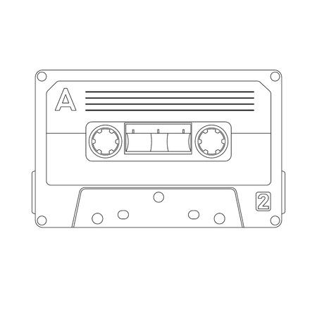 cassette tape  vector illustration lining draw front side 일러스트