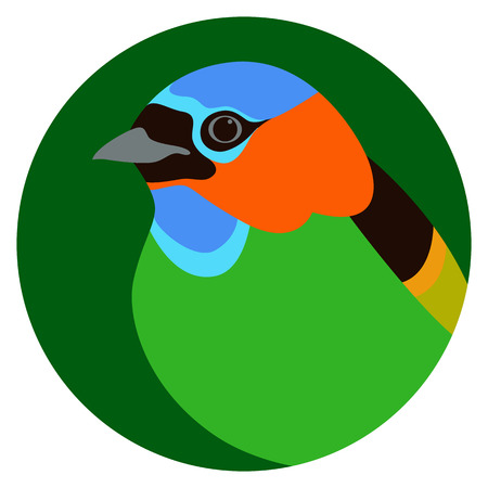 red - necked tanager bird head  vector illustration flat style
