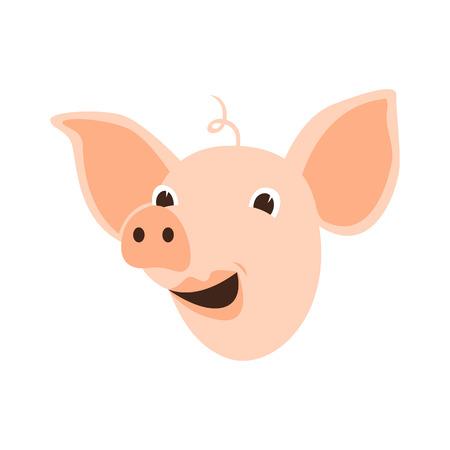 cartoon pig head vector illustration flat style front side