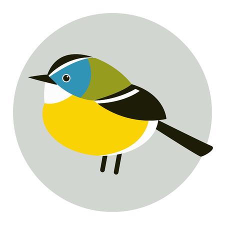 Ilustración de vector de pájaro teta estilo plano perfil lateral estilizado Ilustración de vector