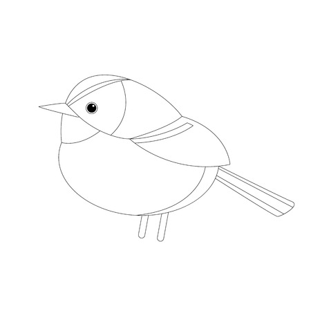 tit bird   vector illustration lining draw  profile side stylized Illustration