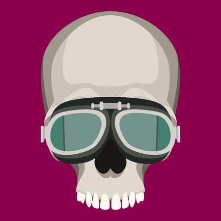 human skull in glasses   vector illustration flat style  front side