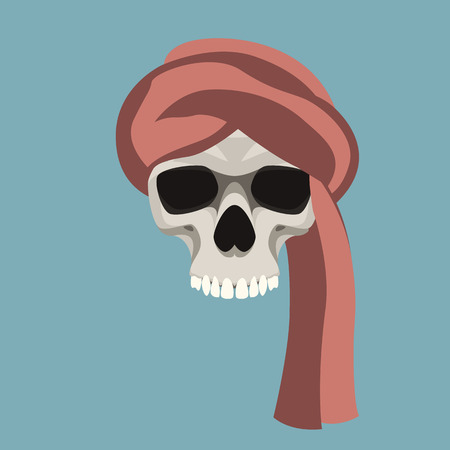 human skull vector illustration flat style  front side