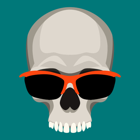 human skull in glasses   vector illustration flat style  front side